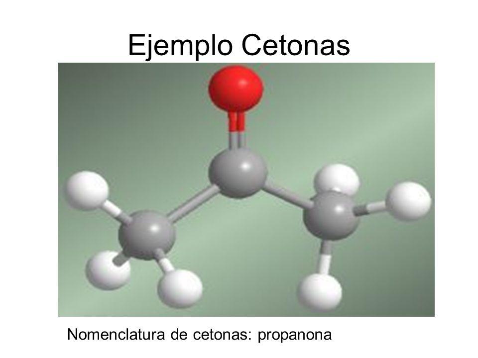 Ejemplo Cetonas Nomenclatura de cetonas: propanona