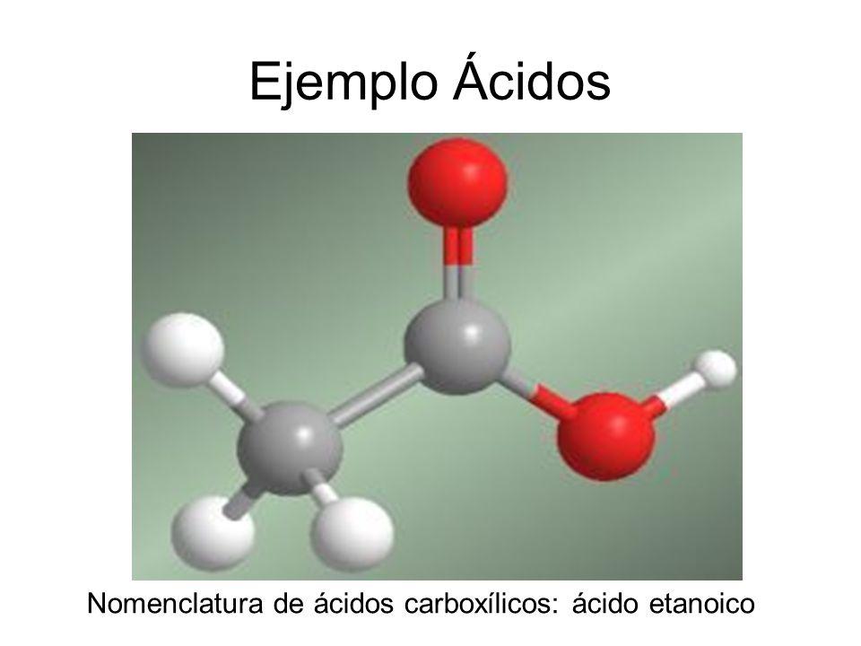Ejemplo Ácidos Nomenclatura de ácidos carboxílicos: ácido etanoico