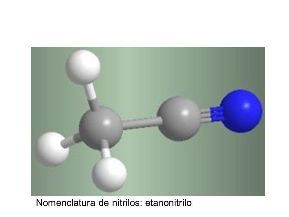 Nomenclatura de nitrilos: etanonitrilo