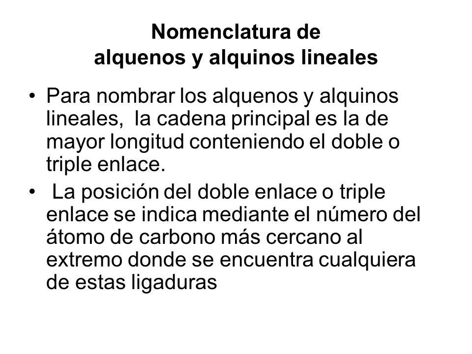Nomenclatura de alquenos y alquinos lineales Para nombrar los alquenos y alquinos lineales, la cadena principal es la de mayor longitud conteniendo el