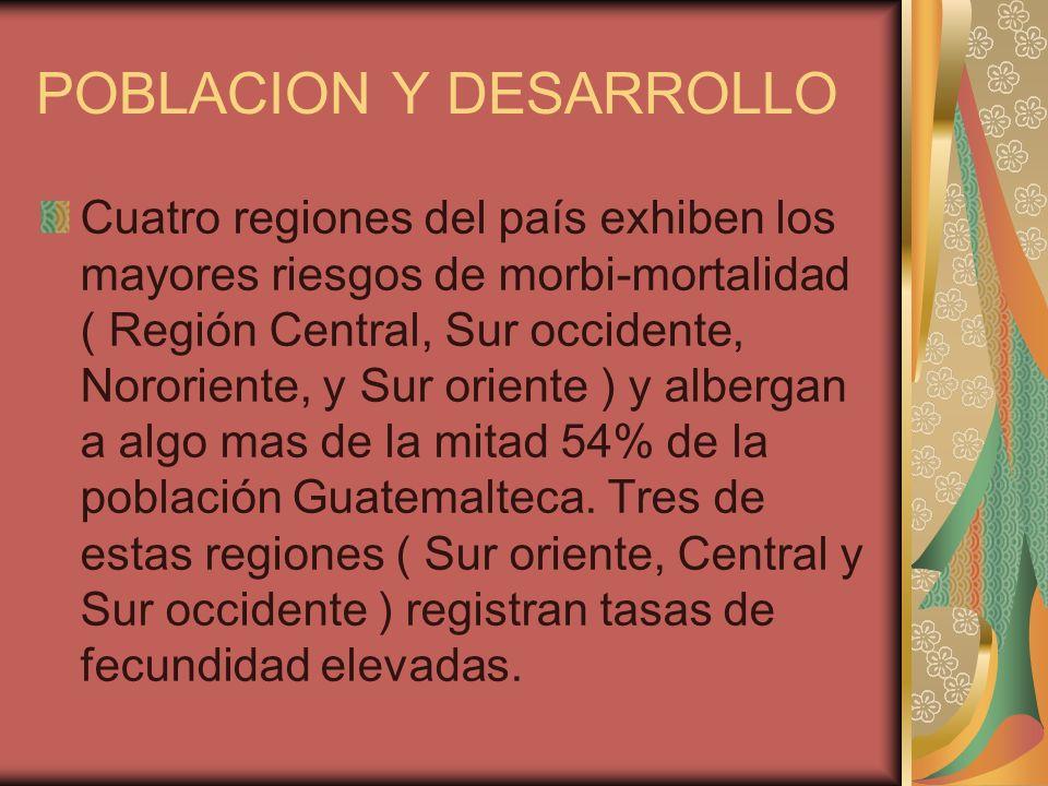 POBLACION Y DESARROLLO Cuatro regiones del país exhiben los mayores riesgos de morbi-mortalidad ( Región Central, Sur occidente, Nororiente, y Sur ori