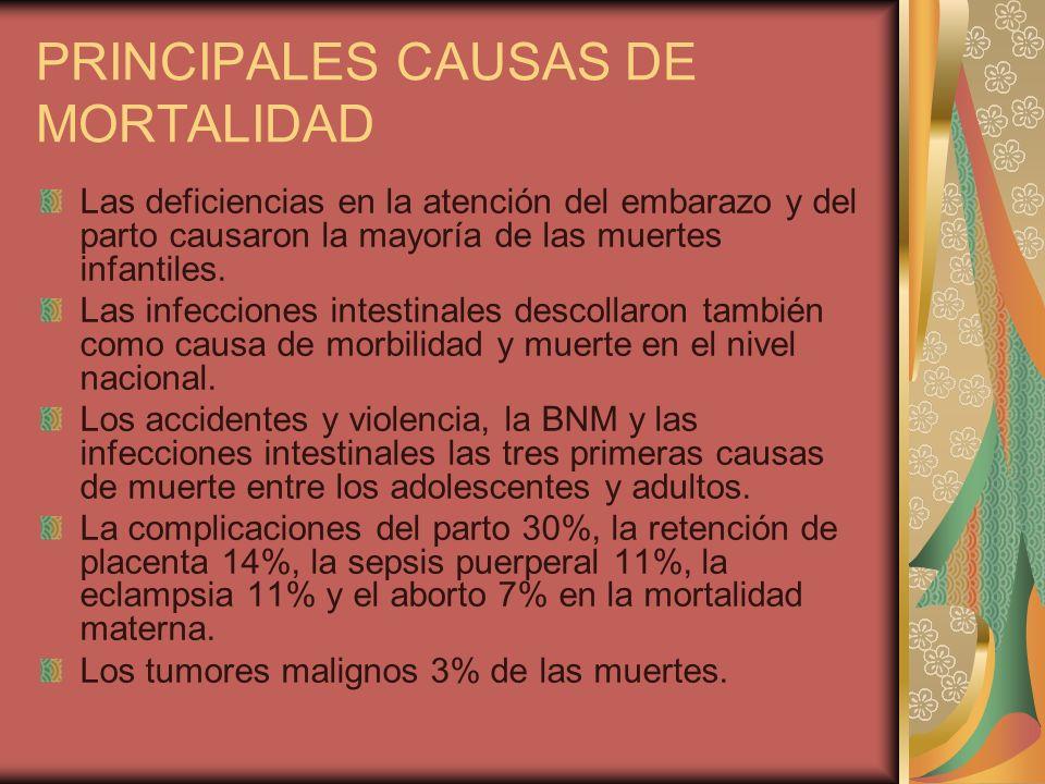 PRINCIPALES CAUSAS DE MORTALIDAD Las deficiencias en la atención del embarazo y del parto causaron la mayoría de las muertes infantiles. Las infeccion