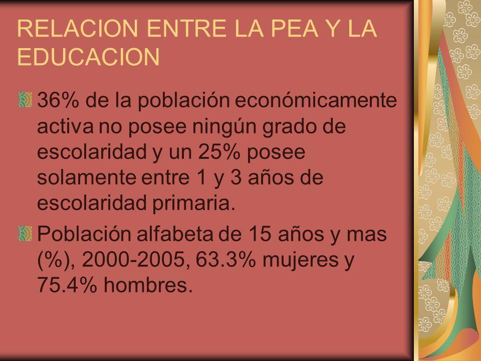 RELACION ENTRE LA PEA Y LA EDUCACION 36% de la población económicamente activa no posee ningún grado de escolaridad y un 25% posee solamente entre 1 y