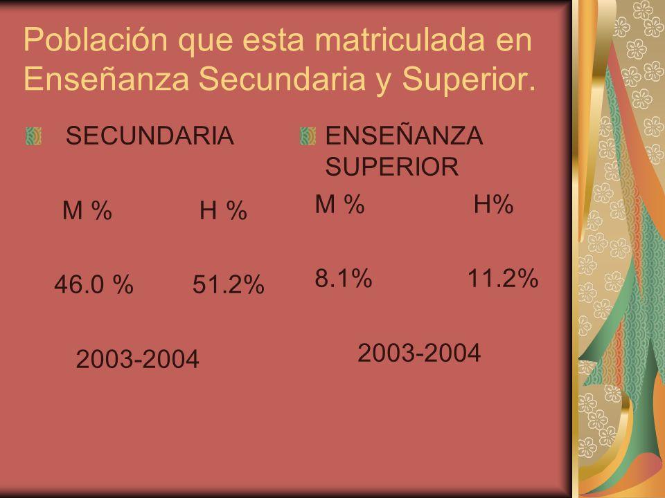 Población que esta matriculada en Enseñanza Secundaria y Superior. SECUNDARIA M % H % 46.0 % 51.2% 2003-2004 ENSEÑANZA SUPERIOR M % H% 8.1% 11.2% 2003