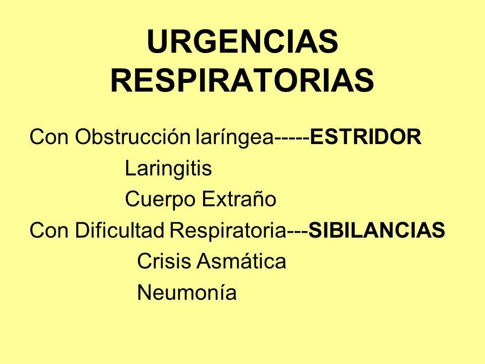 URGENCIAS RESPIRATORIAS Con Obstrucción laríngea-----ESTRIDOR Laringitis Cuerpo Extraño Con Dificultad Respiratoria---SIBILANCIAS Crisis Asmática Neum