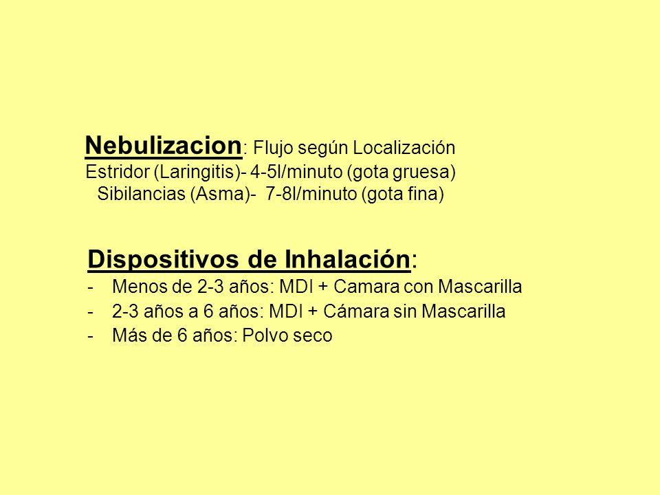 Nebulizacion : Flujo según Localización Estridor (Laringitis)- 4-5l/minuto (gota gruesa) Sibilancias (Asma)- 7-8l/minuto (gota fina) Dispositivos de I