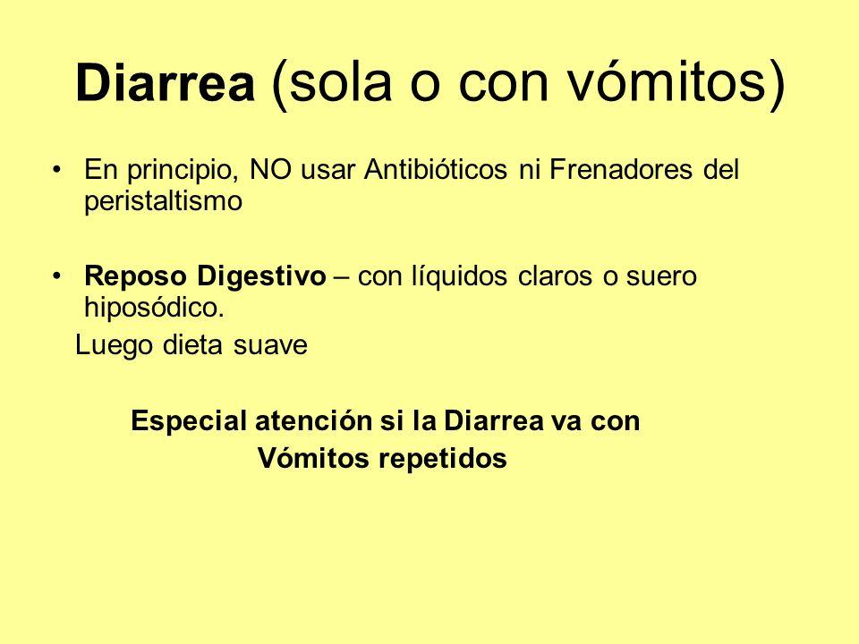 Diarrea (sola o con vómitos) En principio, NO usar Antibióticos ni Frenadores del peristaltismo Reposo Digestivo – con líquidos claros o suero hiposód