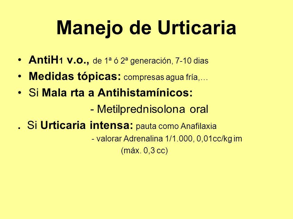 Manejo de Urticaria AntiH 1 v.o., de 1ª ó 2ª generación, 7-10 dias Medidas tópicas: compresas agua fría,… Si Mala rta a Antihistamínicos: - Metilpredn