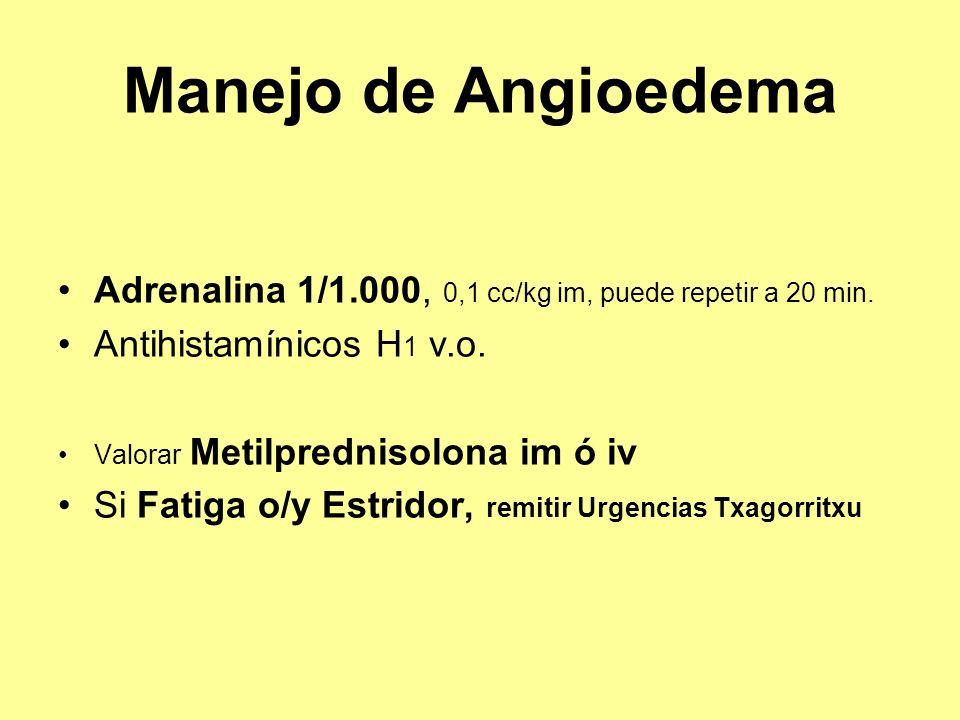 Manejo de Angioedema Adrenalina 1/1.000, 0,1 cc/kg im, puede repetir a 20 min. Antihistamínicos H 1 v.o. Valorar Metilprednisolona im ó iv Si Fatiga o