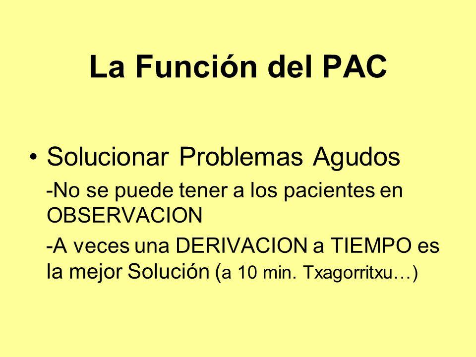 La Función del PAC Solucionar Problemas Agudos -No se puede tener a los pacientes en OBSERVACION -A veces una DERIVACION a TIEMPO es la mejor Solución