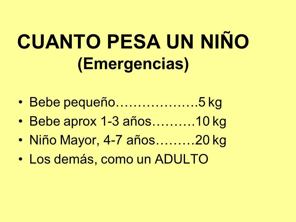 CUANTO PESA UN NIÑO (Emergencias) Bebe pequeño……………….5 kg Bebe aprox 1-3 años……….10 kg Niño Mayor, 4-7 años………20 kg Los demás, como un ADULTO