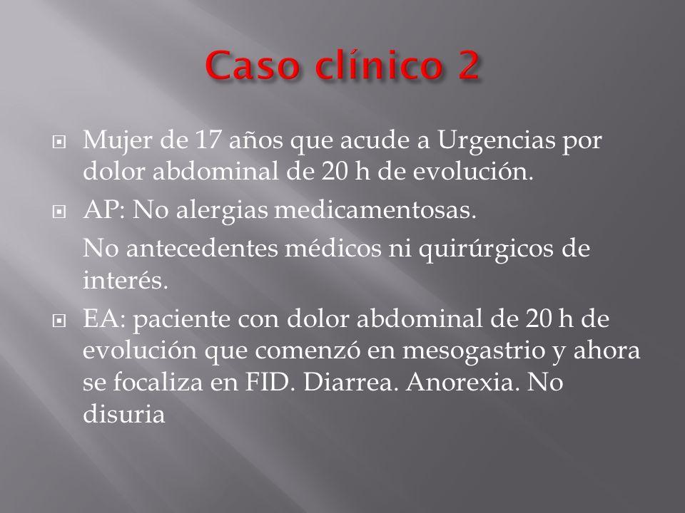 Mujer de 17 años que acude a Urgencias por dolor abdominal de 20 h de evolución. AP: No alergias medicamentosas. No antecedentes médicos ni quirúrgico