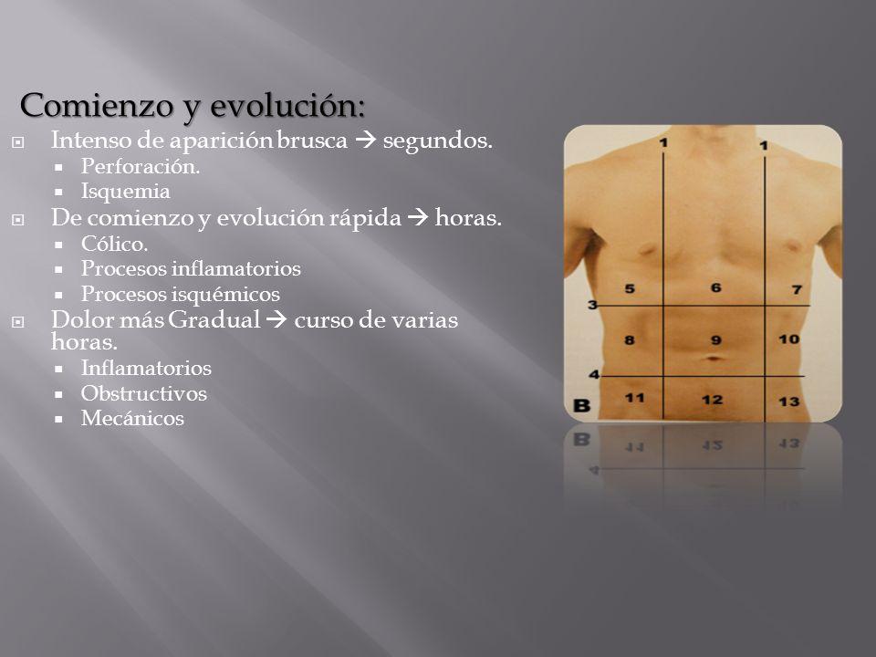Comienzo y evolución: Comienzo y evolución: Intenso de aparición brusca segundos. Perforación. Isquemia De comienzo y evolución rápida horas. Cólico.