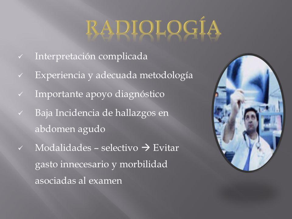 Interpretación complicada Experiencia y adecuada metodología Importante apoyo diagnóstico Baja Incidencia de hallazgos en abdomen agudo Modalidades –