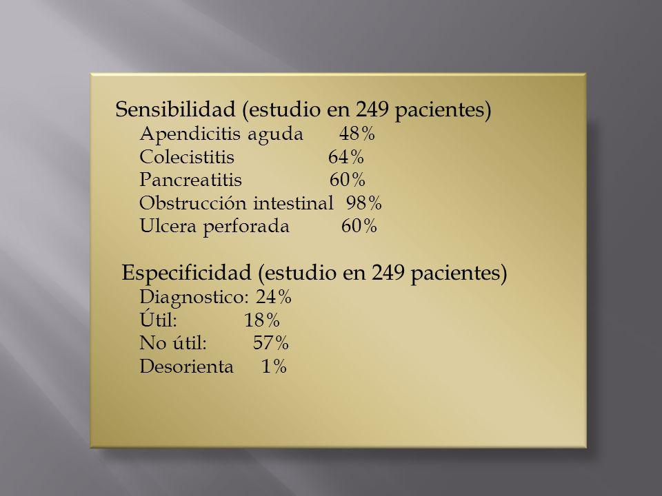 Sensibilidad (estudio en 249 pacientes) Apendicitis aguda 48% Colecistitis 64% Pancreatitis 60% Obstrucción intestinal 98% Ulcera perforada 60% Especi