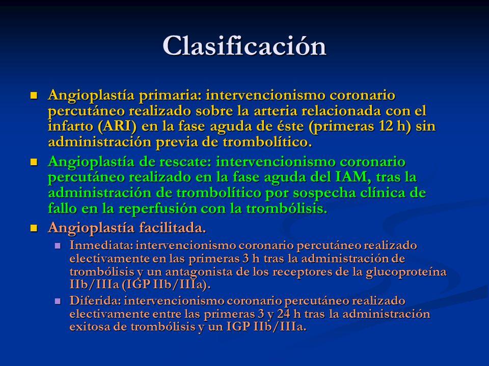 Clasificación Angioplastía primaria: intervencionismo coronario percutáneo realizado sobre la arteria relacionada con el infarto (ARI) en la fase agud