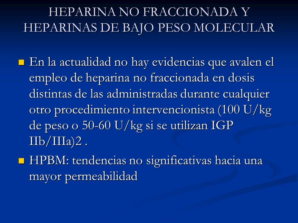 HEPARINA NO FRACCIONADA Y HEPARINAS DE BAJO PESO MOLECULAR En la actualidad no hay evidencias que avalen el empleo de heparina no fraccionada en dosis
