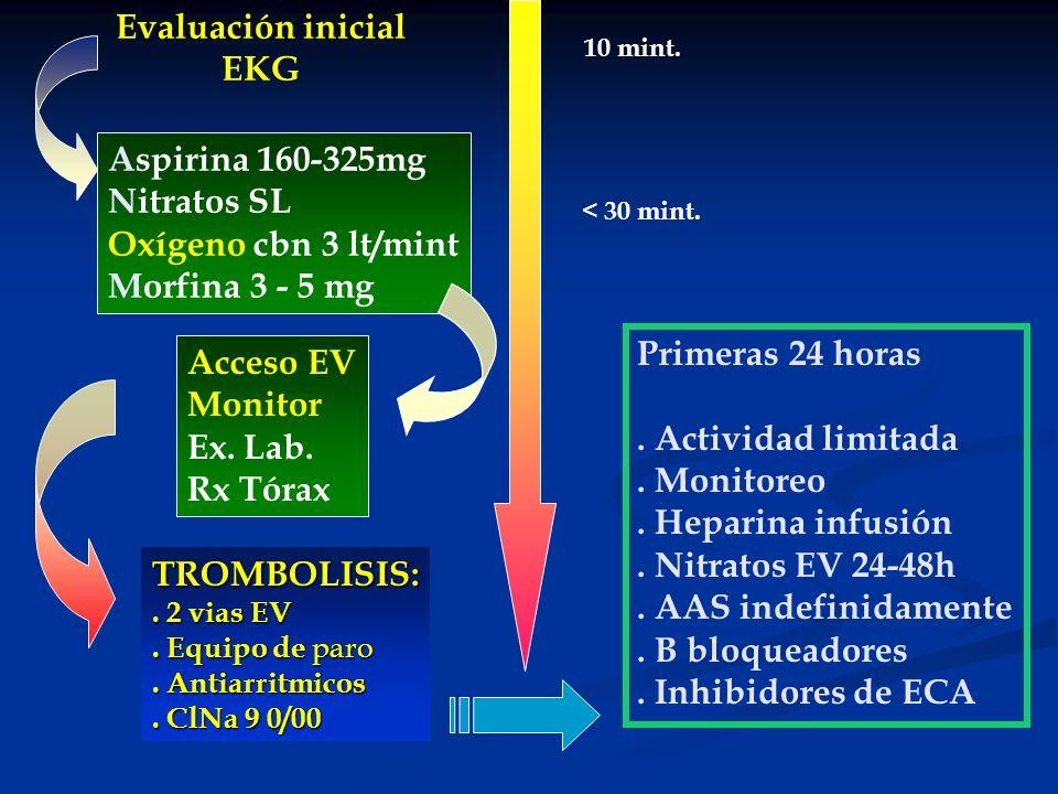 Evaluación inicial EKG Acceso EV Monitor Ex. Lab. Rx Tórax Aspirina 160-325mg Nitratos SL Oxígeno cbn 3 lt/mint Morfina 3 - 5 mg TROMBOLISIS:. 2 vias