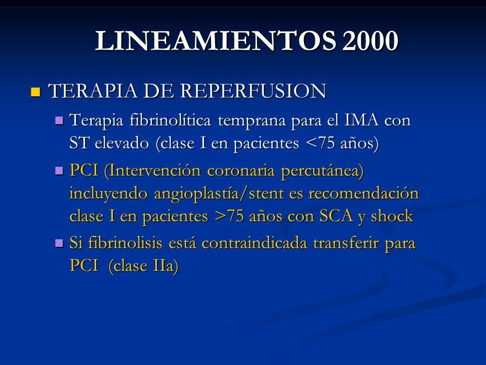 LINEAMIENTOS 2000 TERAPIA DE REPERFUSION TERAPIA DE REPERFUSION Terapia fibrinolítica temprana para el IMA con ST elevado (clase I en pacientes <75 añ