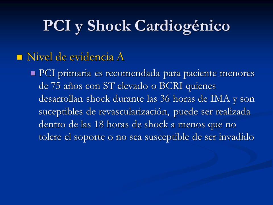 PCI y Shock Cardiogénico Nivel de evidencia A Nivel de evidencia A PCI primaria es recomendada para paciente menores de 75 años con ST elevado o BCRI
