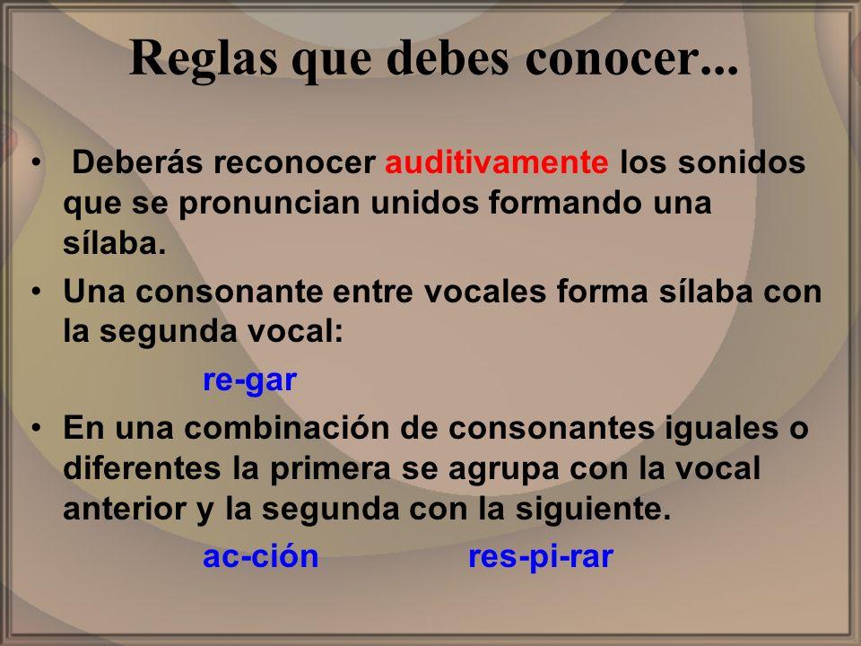 Reglas que debes conocer... Deberás reconocer auditivamente los sonidos que se pronuncian unidos formando una sílaba. Una consonante entre vocales for