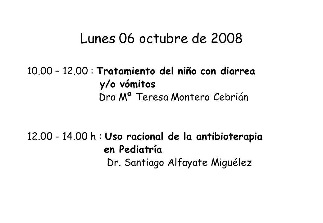 Lunes 06 octubre de 2008 10.00 – 12.00 : Tratamiento del niño con diarrea y/o vómitos Dra Mª Teresa Montero Cebrián 12.00 - 14.00 h : Uso racional de