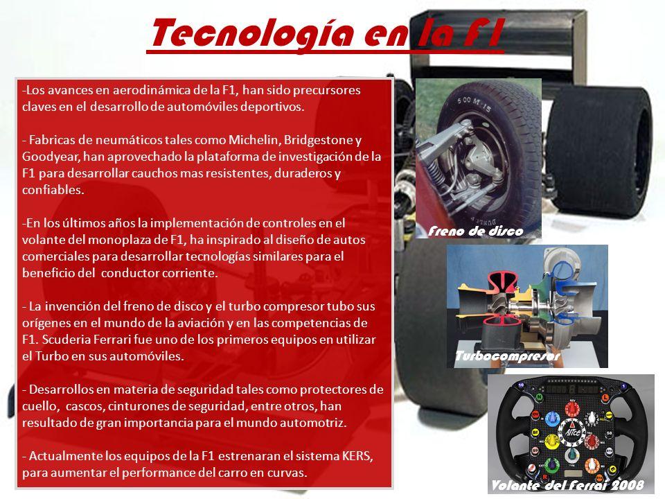 Tecnología en la F1 -Los avances en aerodinámica de la F1, han sido precursores claves en el desarrollo de automóviles deportivos. - Fabricas de neumá