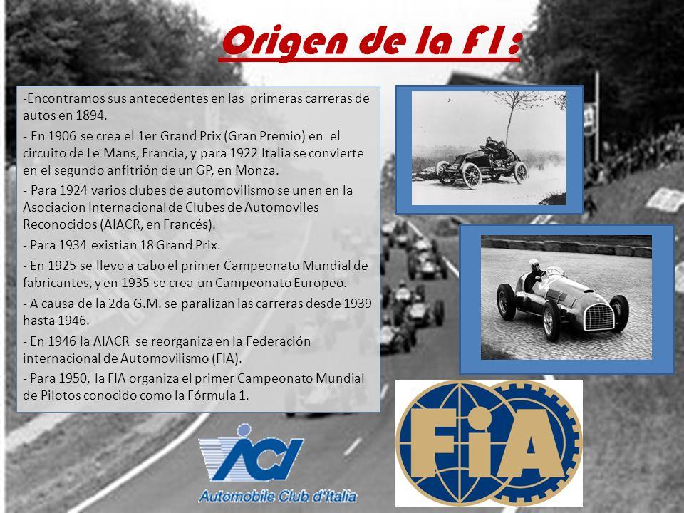 Origen de la F1: -Encontramos sus antecedentes en las primeras carreras de autos en 1894. - En 1906 se crea el 1er Grand Prix (Gran Premio) en el circ