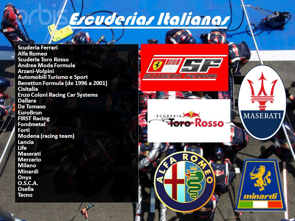 Escuderias Italianas Scuderia Ferrari Alfa Romeo Scuderia Toro Rosso Andrea Moda Formula Arzani-Volpini Automobili Turismo e Sport Benetton Formula (d
