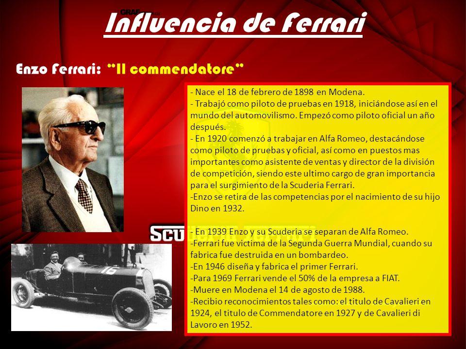 Influencia de Ferrari - Nace el 18 de febrero de 1898 en Modena. - Trabajó como piloto de pruebas en 1918, iniciándose así en el mundo del automovilis