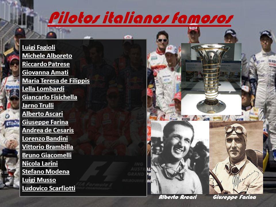 Pilotos italianos famosos Luigi Fagioli Michele Alboreto Riccardo Patrese Giovanna Amati Maria Teresa de Filippis Lella Lombardi Giancarlo Fisichella