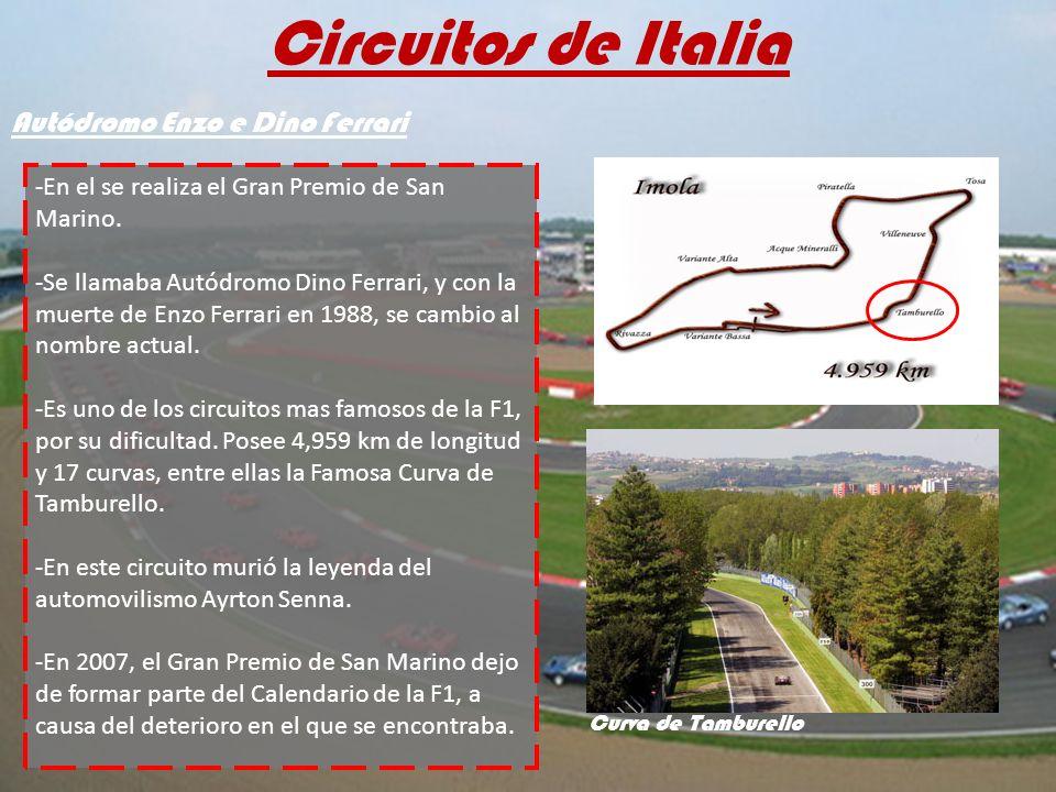 Circuitos de Italia -En el se realiza el Gran Premio de San Marino. -Se llamaba Autódromo Dino Ferrari, y con la muerte de Enzo Ferrari en 1988, se ca