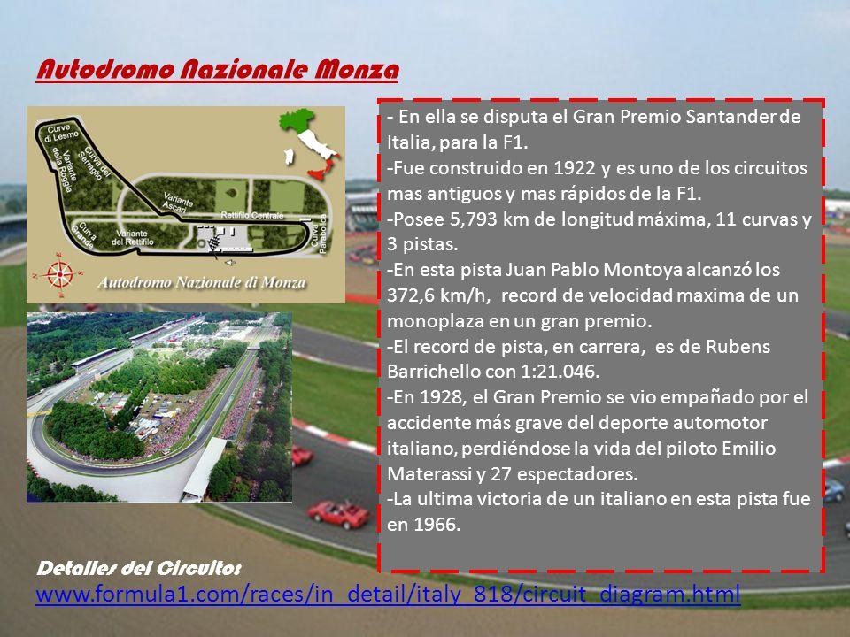 www.formula1.com/races/in_detail/italy_818/circuit_diagram.html Autodromo Nazionale Monza Detalles del Circuito: - En ella se disputa el Gran Premio S