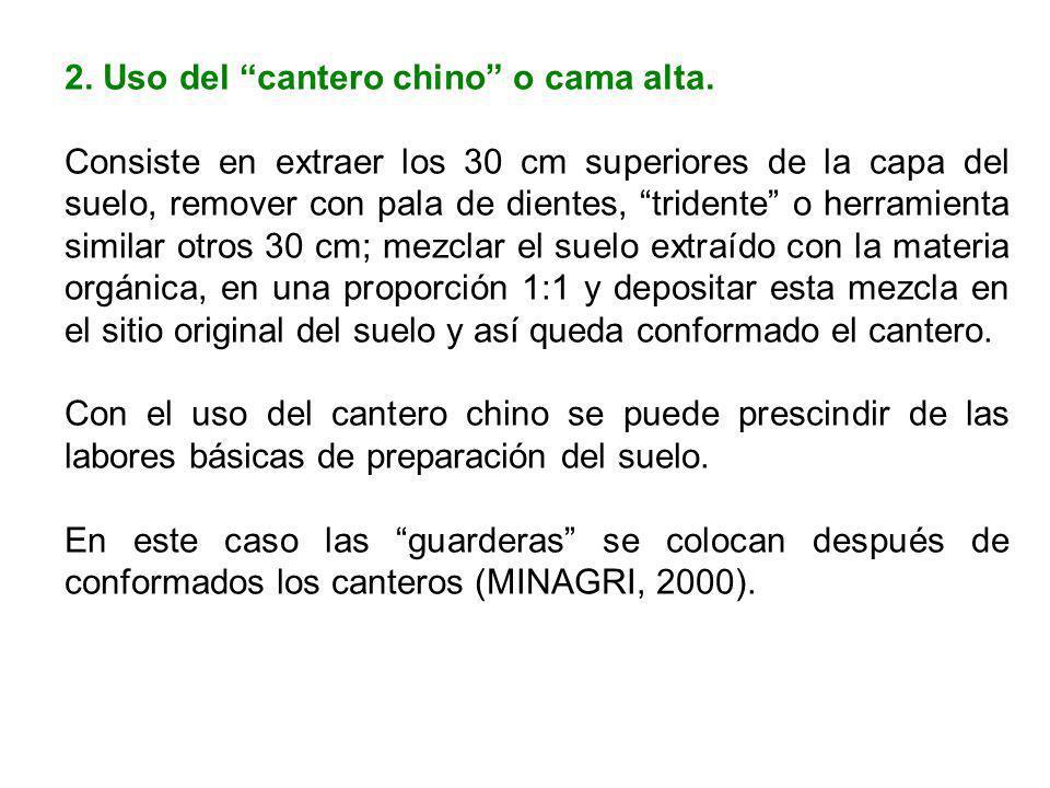 2. Uso del cantero chino o cama alta. Consiste en extraer los 30 cm superiores de la capa del suelo, remover con pala de dientes, tridente o herramien