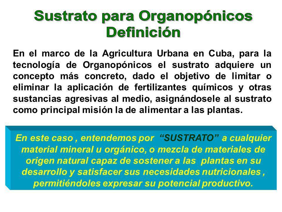 En el marco de la Agricultura Urbana en Cuba, para la tecnología de Organopónicos el sustrato adquiere un concepto más concreto, dado el objetivo de l
