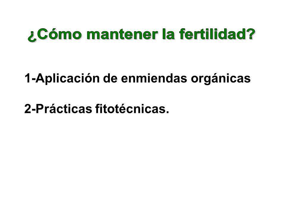 1-Aplicación de enmiendas orgánicas 2-Prácticas fitotécnicas.
