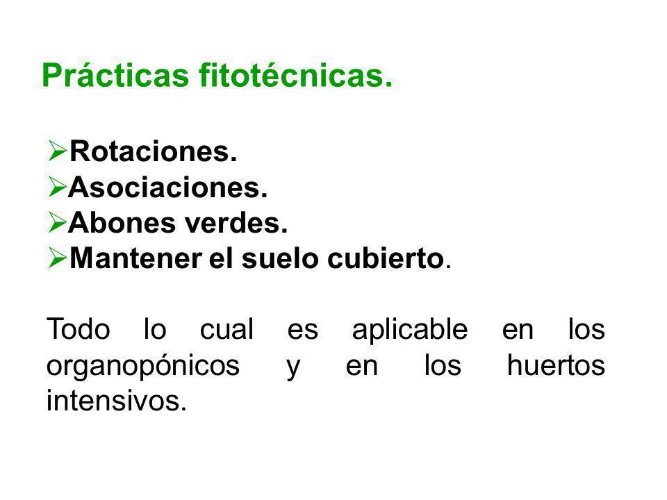 Prácticas fitotécnicas. Rotaciones. Asociaciones. Abones verdes. Mantener el suelo cubierto. Todo lo cual es aplicable en los organopónicos y en los h
