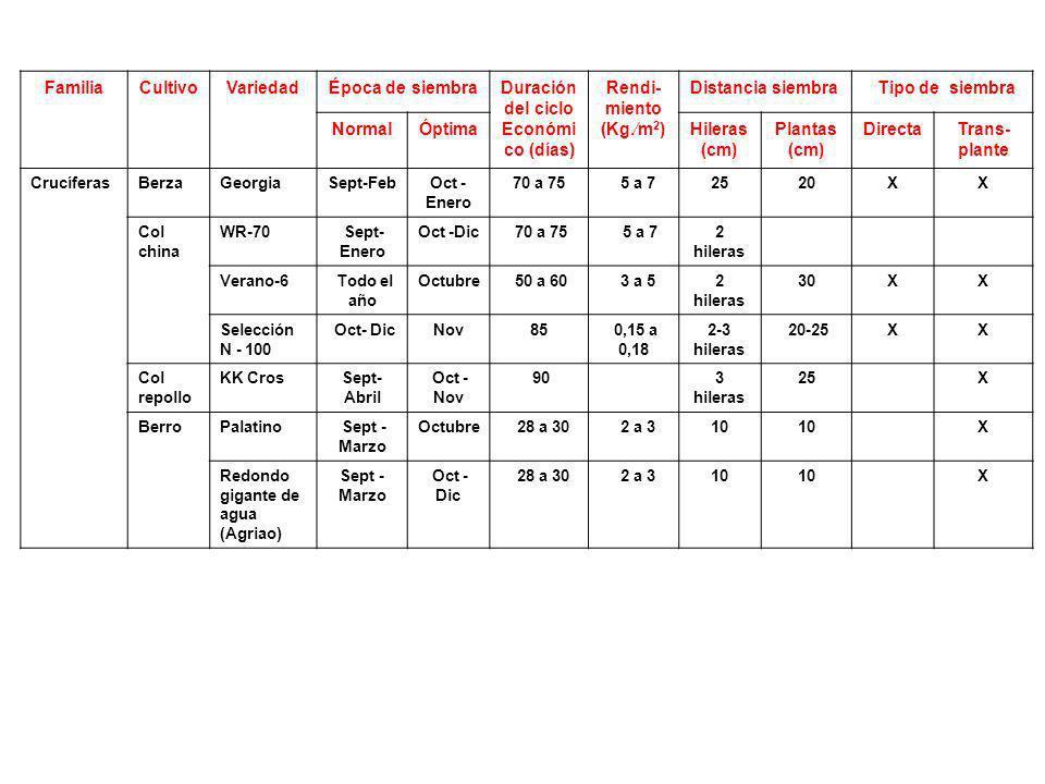 FamiliaCultivoVariedadÉpoca de siembraDuración del ciclo Económi co (días) Rendi- miento (Kg.m 2 ) Distancia siembra Tipo de siembra NormalÓptimaHiler