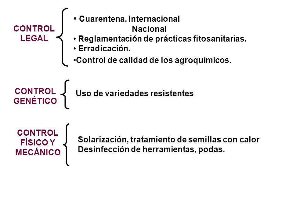 CONTROL LEGAL Cuarentena. Internacional Nacional Reglamentación de prácticas fitosanitarias. Erradicación. Control de calidad de los agroquímicos. CON