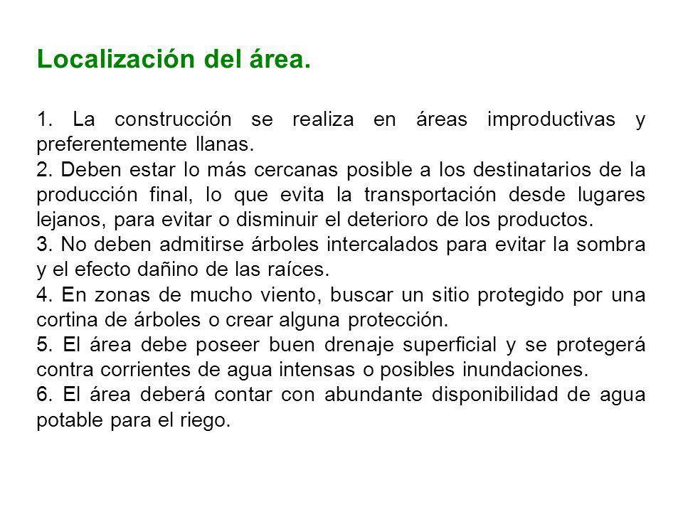 Localización del área. 1. La construcción se realiza en áreas improductivas y preferentemente llanas. 2. Deben estar lo más cercanas posible a los des