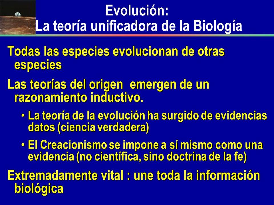 Evolución: La teoría unificadora de la Biología Todas las especies evolucionan de otras especies Las teorías del origen emergen de un razonamiento ind