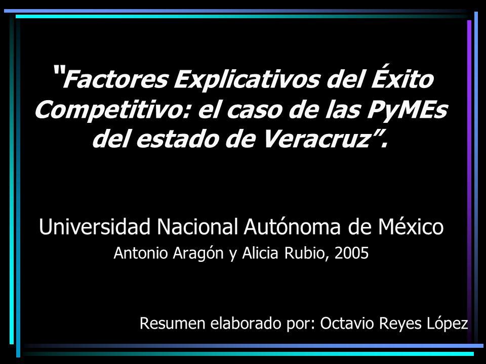 Factores Explicativos del Éxito Competitivo: el caso de las PyMEs del estado de Veracruz. Universidad Nacional Autónoma de México Antonio Aragón y Ali