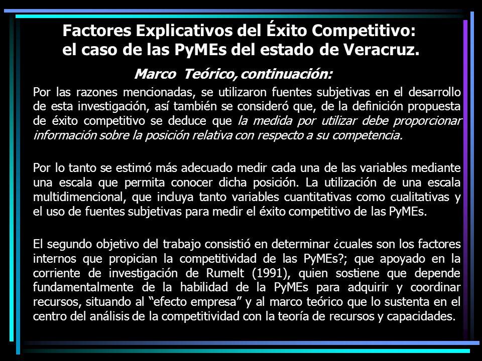 Factores Explicativos del Éxito Competitivo: el caso de las PyMEs del estado de Veracruz. Marco Teórico, continuación: Por las razones mencionadas, se
