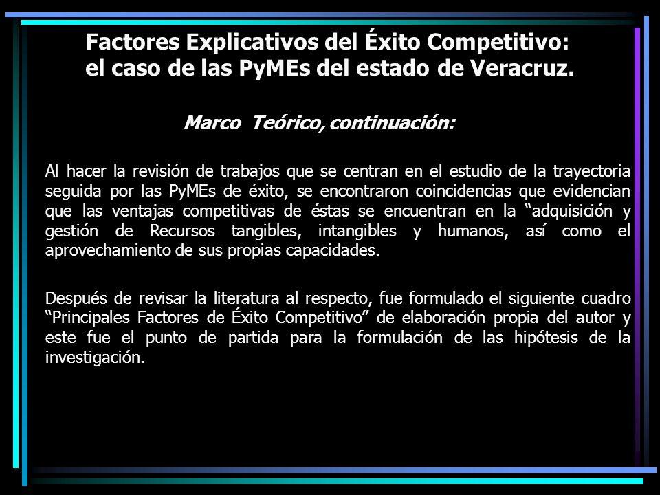 Factores Explicativos del Éxito Competitivo: el caso de las PyMEs del estado de Veracruz. Marco Teórico, continuación: Al hacer la revisión de trabajo