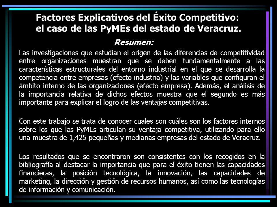 Factores Explicativos del Éxito Competitivo: el caso de las PyMEs del estado de Veracruz. Resumen: Las investigaciones que estudian el origen de las d