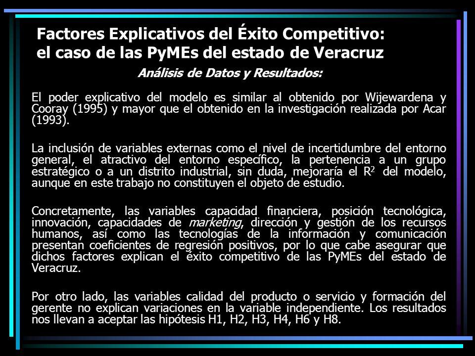 Factores Explicativos del Éxito Competitivo: el caso de las PyMEs del estado de Veracruz Análisis de Datos y Resultados: El poder explicativo del mode