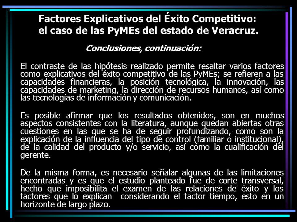 Factores Explicativos del Éxito Competitivo: el caso de las PyMEs del estado de Veracruz. Conclusiones, continuación: El contraste de las hipótesis re