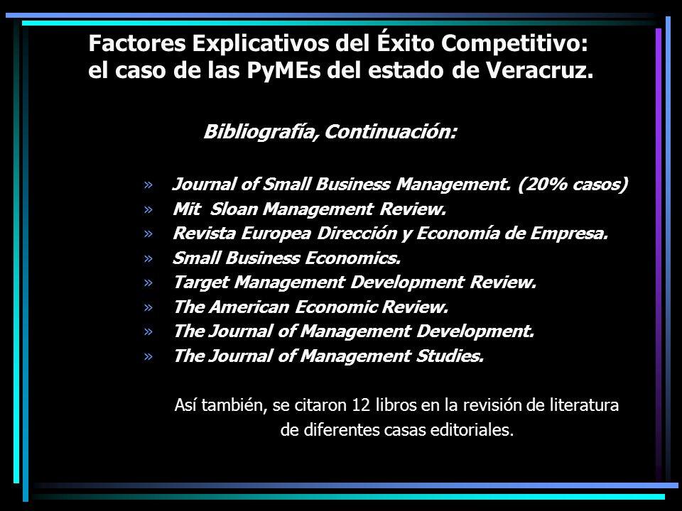 Factores Explicativos del Éxito Competitivo: el caso de las PyMEs del estado de Veracruz. Bibliografía, Continuación: »Journal of Small Business Manag
