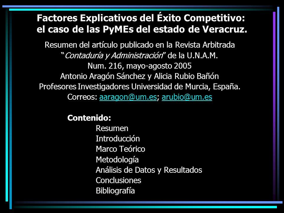 Factores Explicativos del Éxito Competitivo: el caso de las PyMEs del estado de Veracruz. Resumen del artículo publicado en la Revista Arbitrada Conta