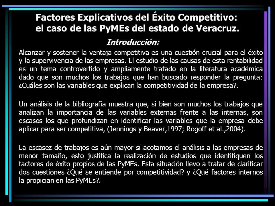 Factores Explicativos del Éxito Competitivo: el caso de las PyMEs del estado de Veracruz. Introducción: Alcanzar y sostener la ventaja competitiva es